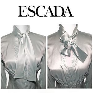 Vintage ESCADA Silk Fitted Ascot Bell Cuff Blouse